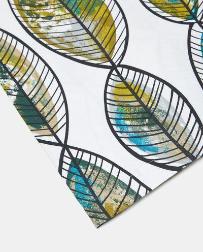 Telo con stampa foglie di puro cotone