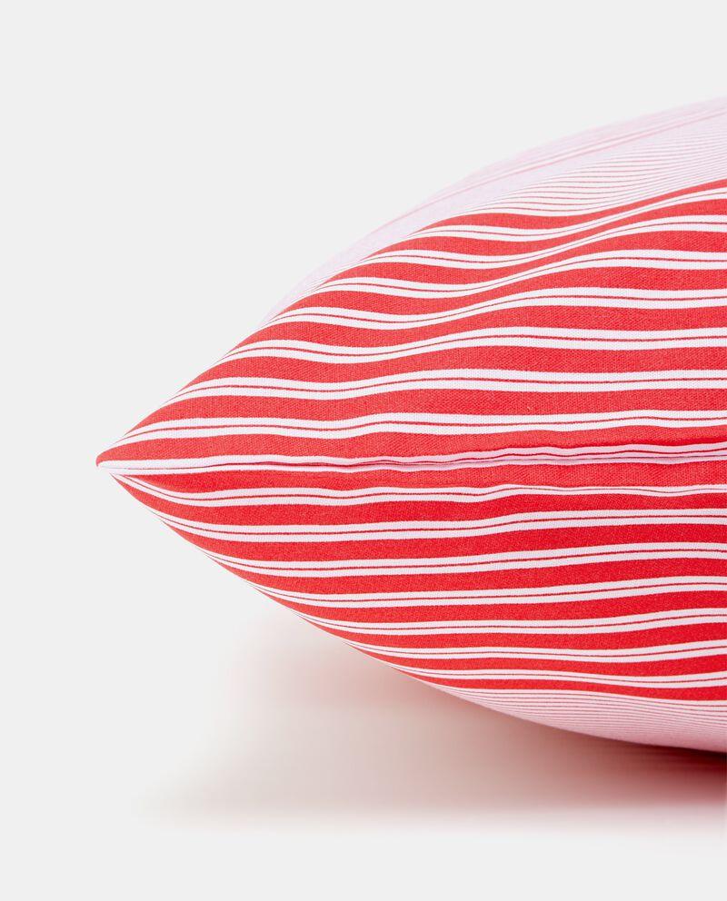 Federa rossa in puro cotone con motivo a righe