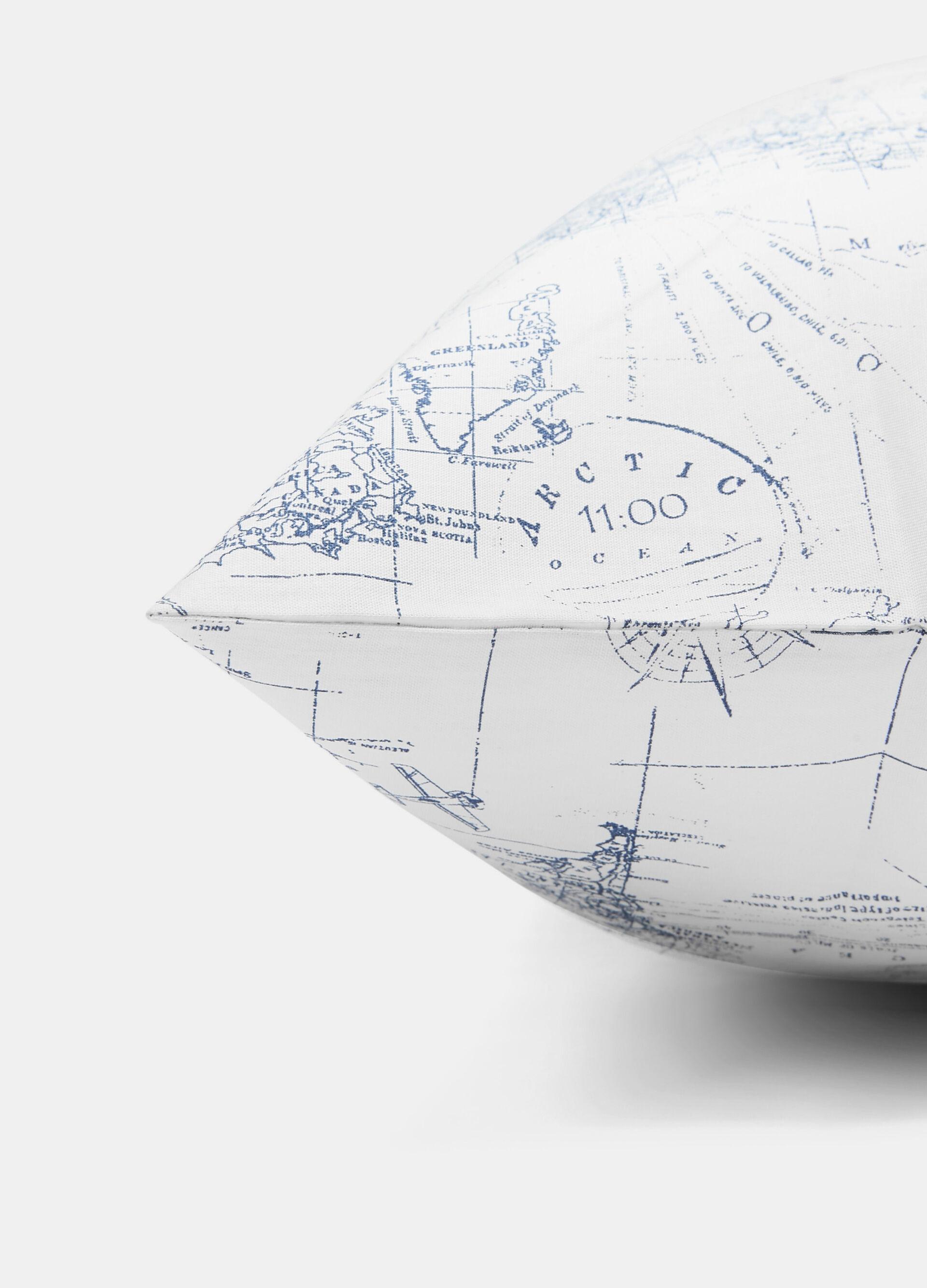 Federa puro cotone stampa mappa