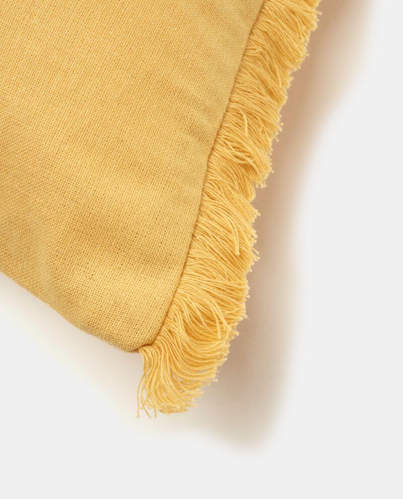 Copricuscino in puro cotone con frange