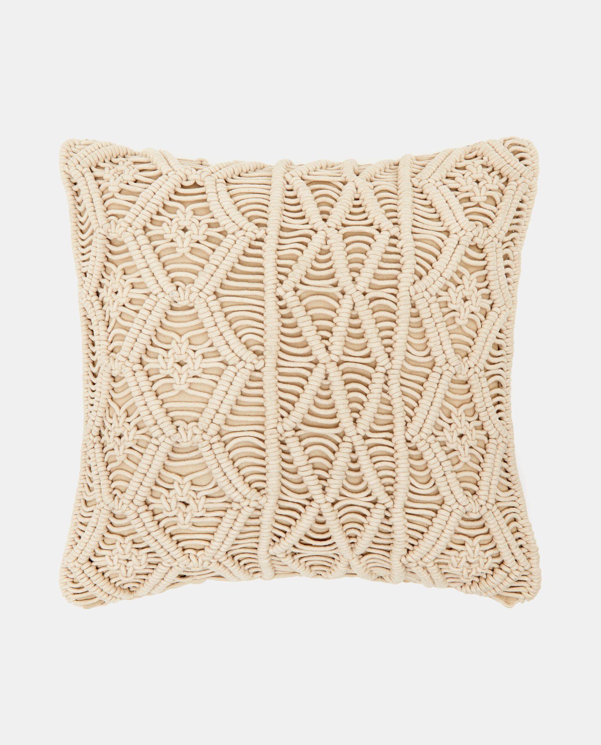 Cuscino in cotone macramé beige