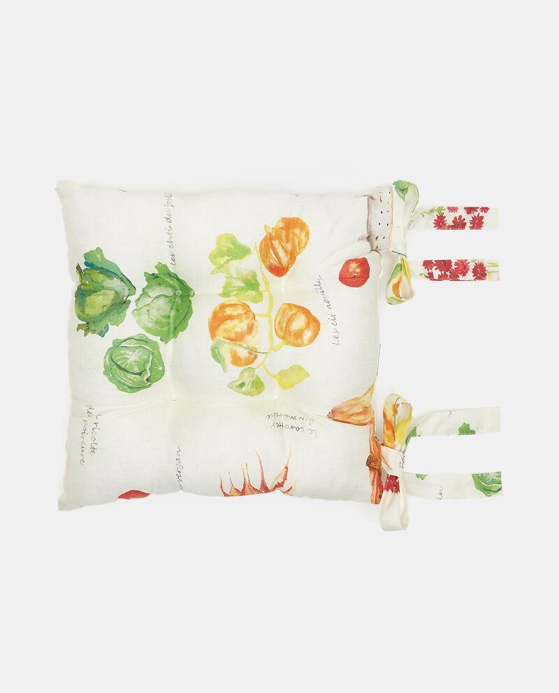 Cuscino coprisedia con stampa verdure con esterno in puro cotone
