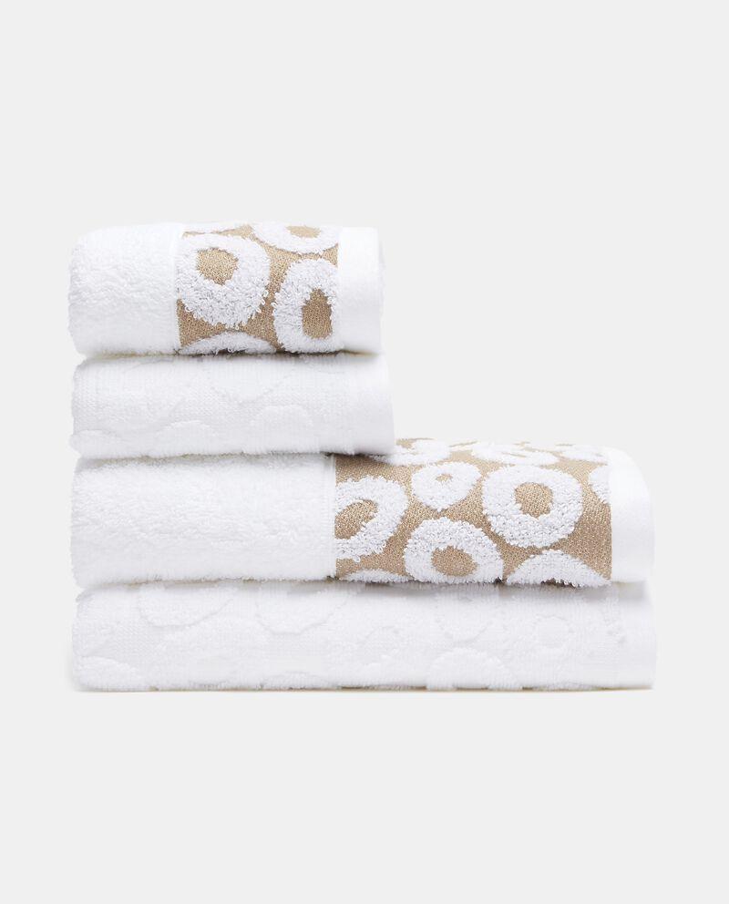 Set con 4 asciugamani con decoro cerchi in puro cotone cover
