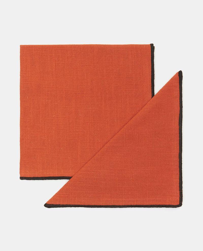 Bipack 2 tovaglioli con bordi a contrasto in puro cotone