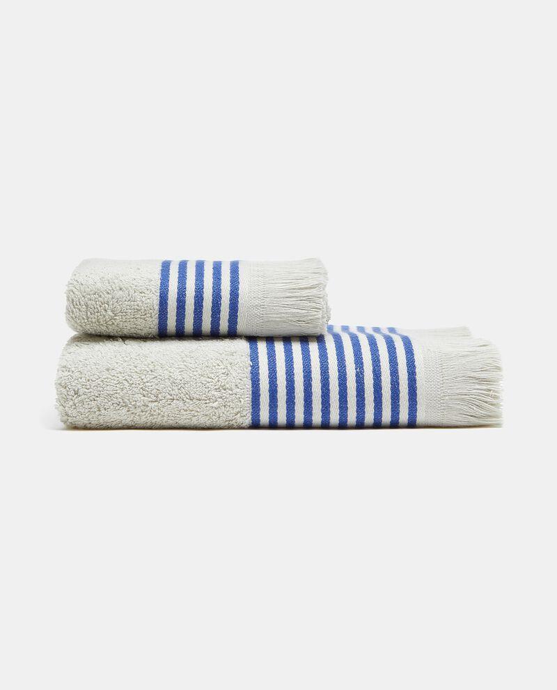 Asciugamano ospite con bordo a righe in puro cotone cover