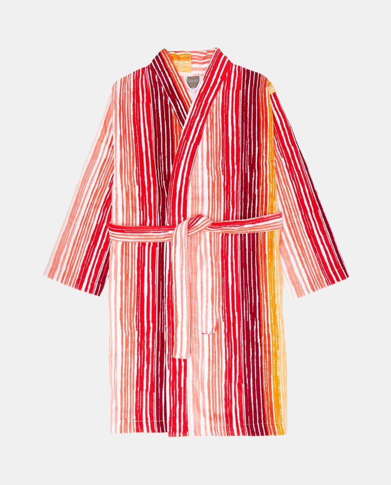 Accappatoio kimono in puro cotone a righe