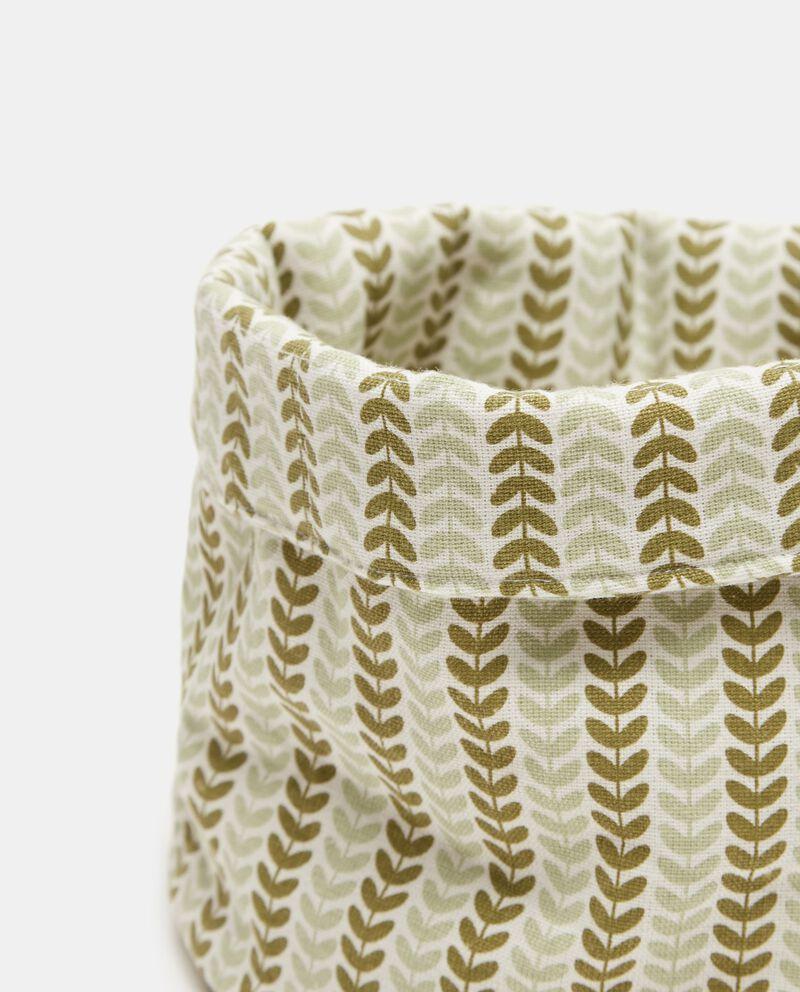 Cesto con stampa foglie in puro cotone