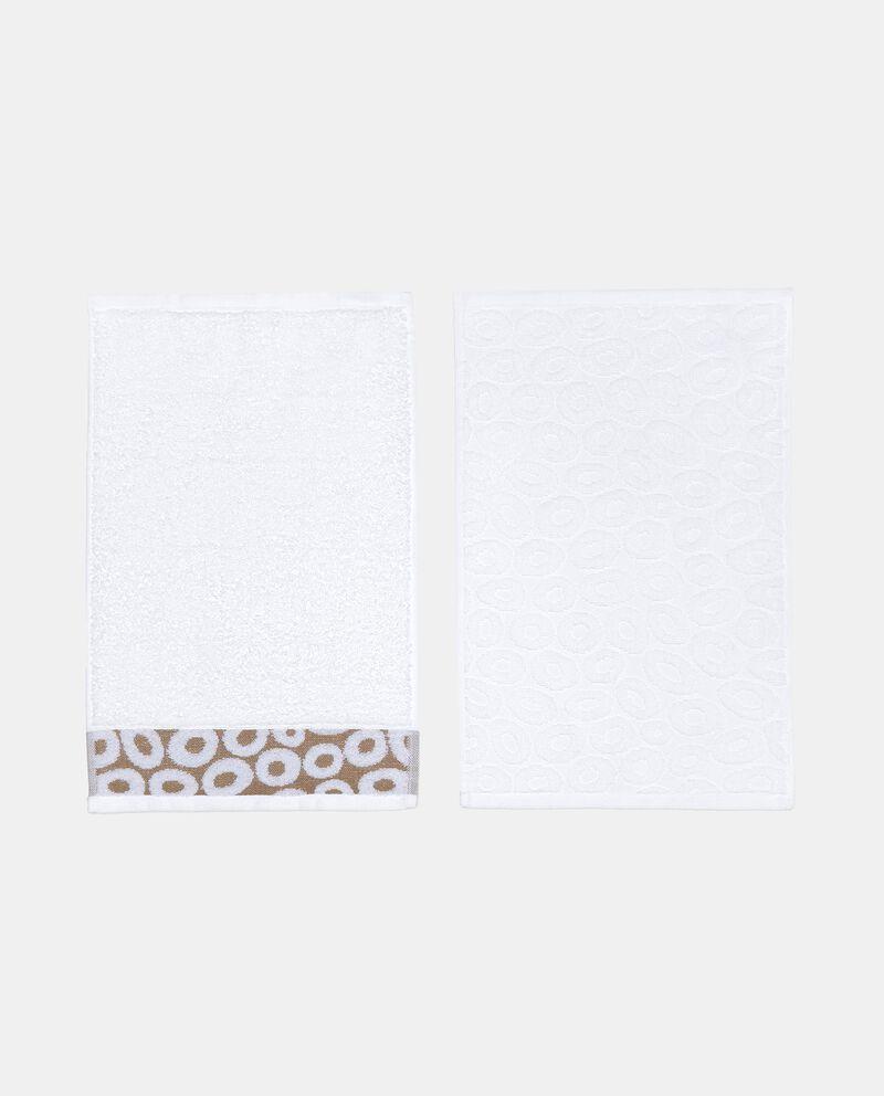 Set con 4 asciugamani con decoro cerchi in puro cotone single tile 1