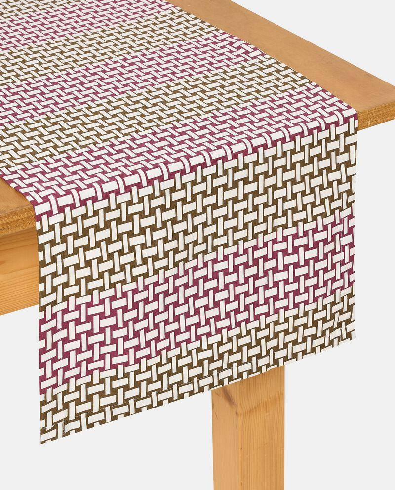 Runner con stampa intrecciata di puro cotone single tile 1