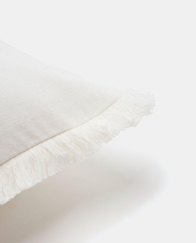 Copricuscino puro cotone con frange