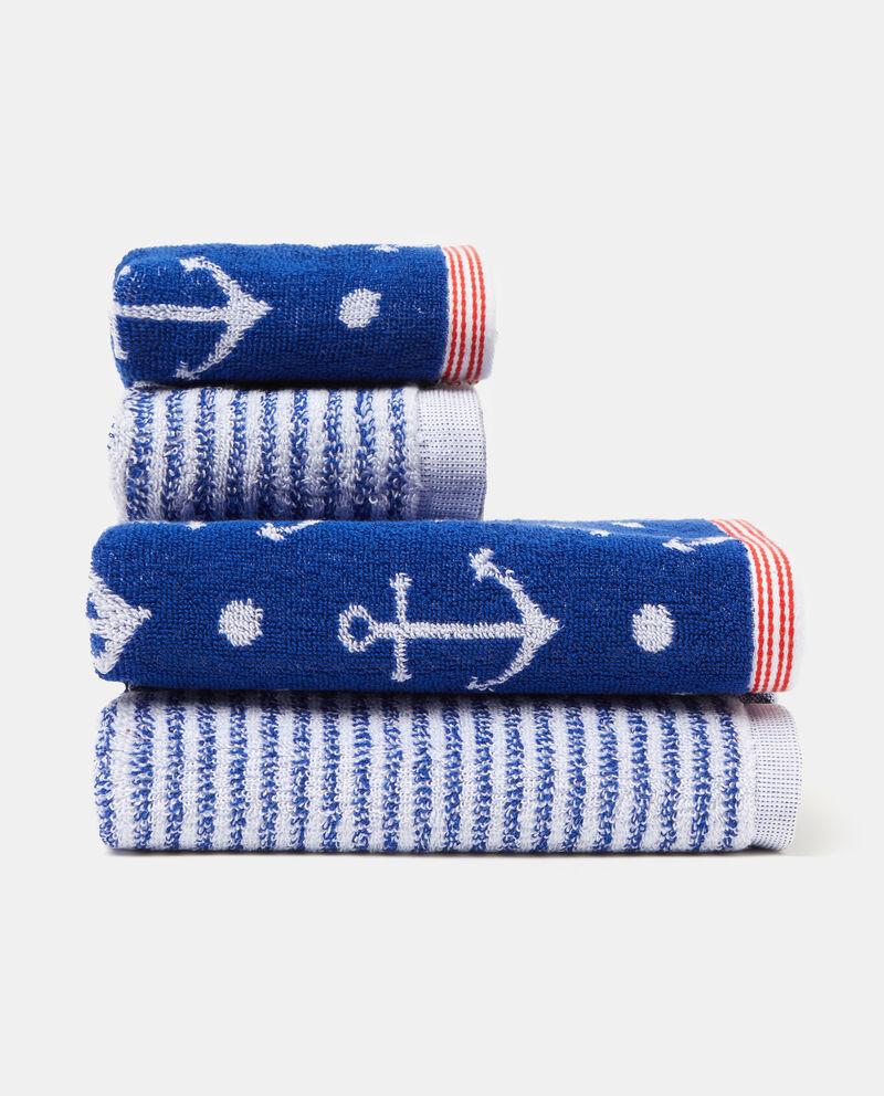 Asciugamano decori righe ancore puro cotone