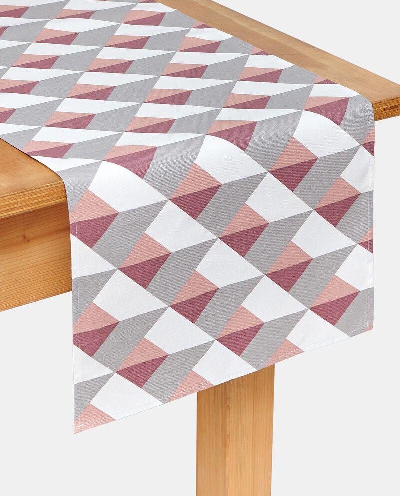 Runner con fantasia geometrica in puro cotone