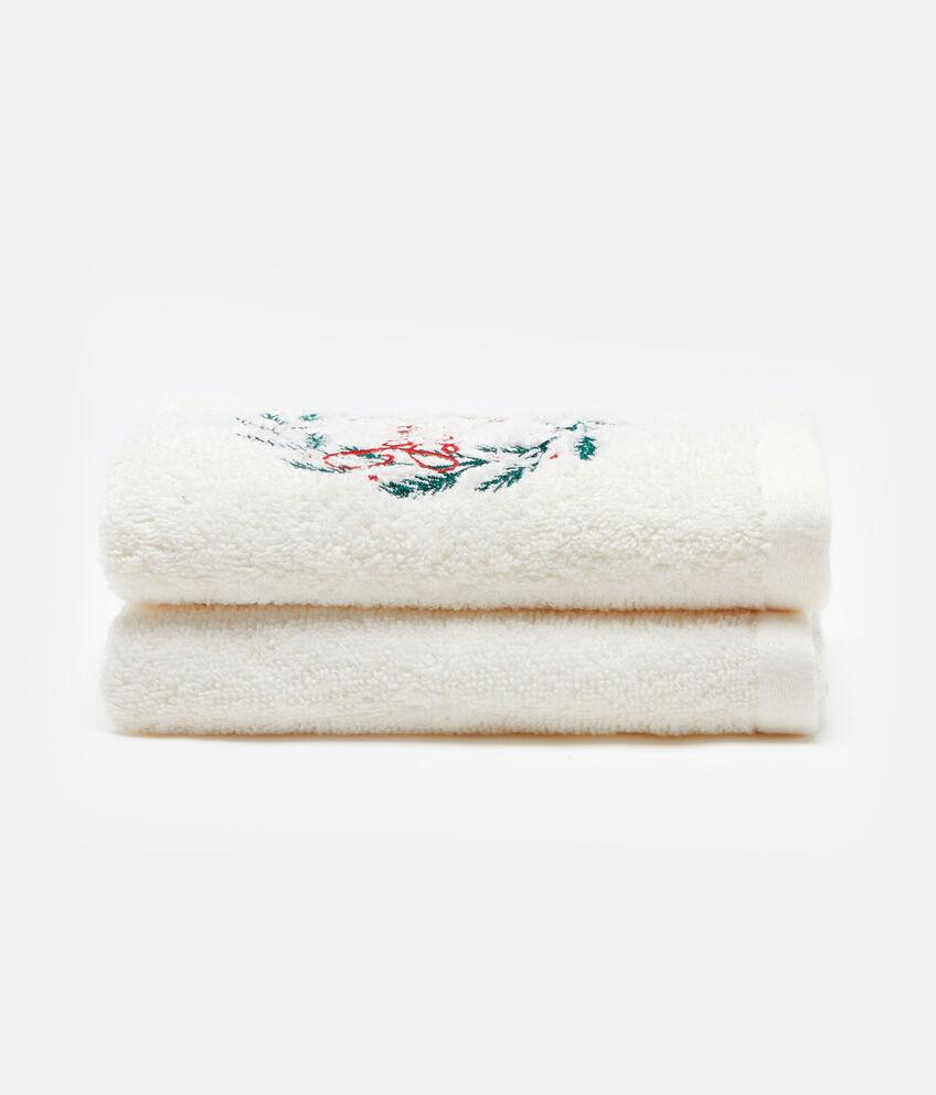 Set due asciugamani cotone ricamo