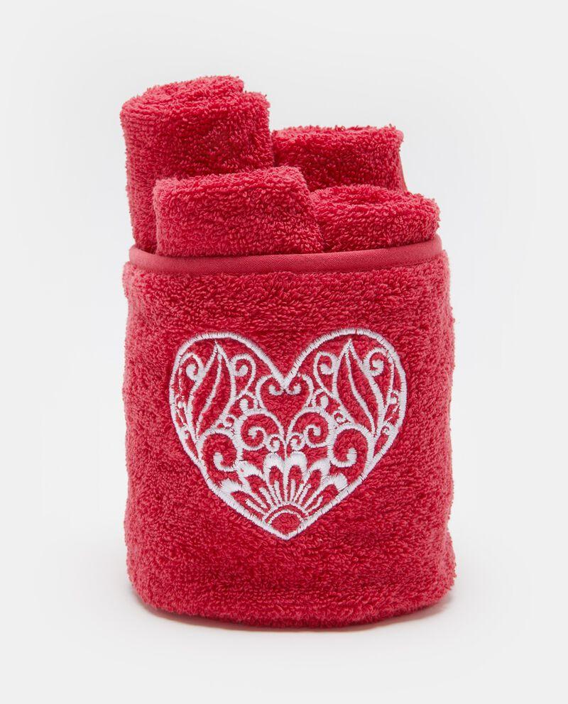 Cestino ricamo cuore con lavette