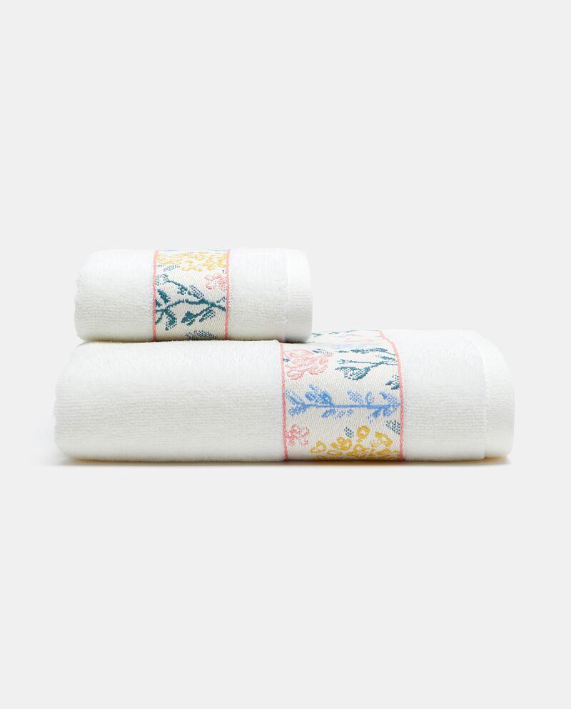 Asciugamano ospite con bordo floreale in puro cotonedouble bordered 0