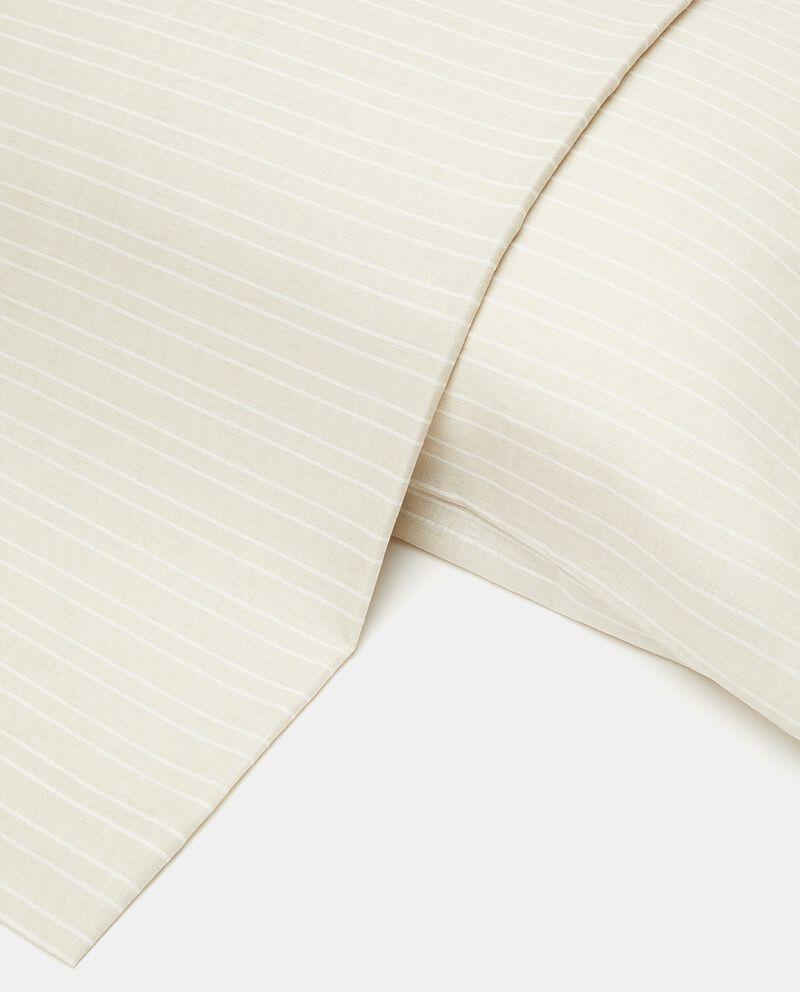 Lenzuolo a righe cotone misto lino
