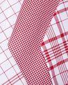 Set tre strofinacci rossi con motivo a quadri