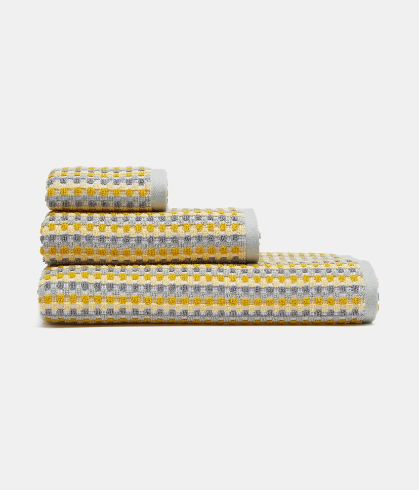 Asciugamano ospite con micro quadretti in puro cotone double 1