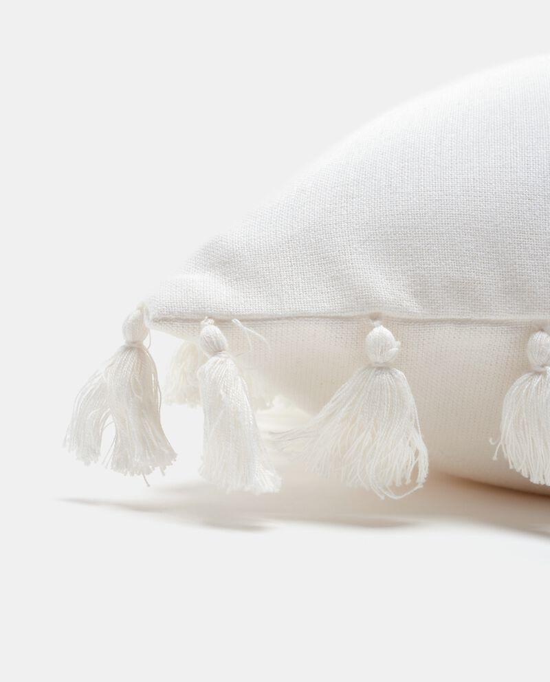 Copricuscino con nappine in puro cotone