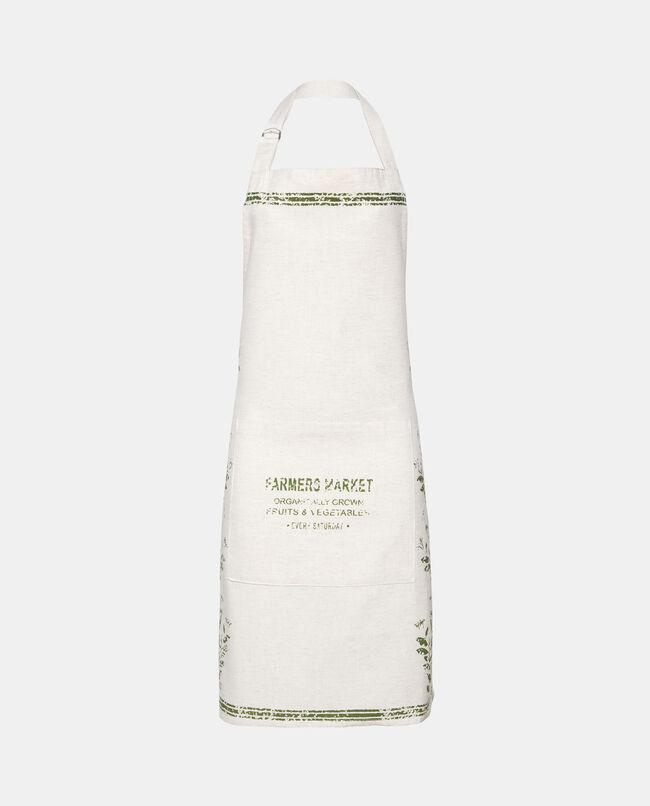 Grembiule bianco in puro cotone stampa nature