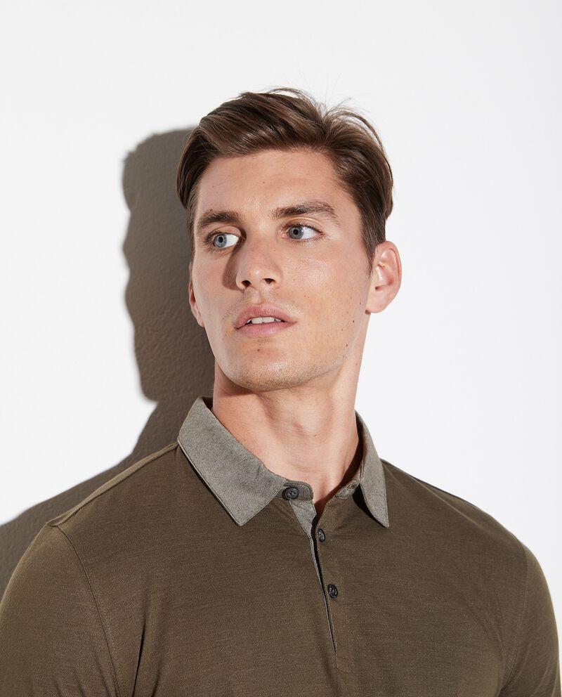 Polo con colletto a contrasto uomo