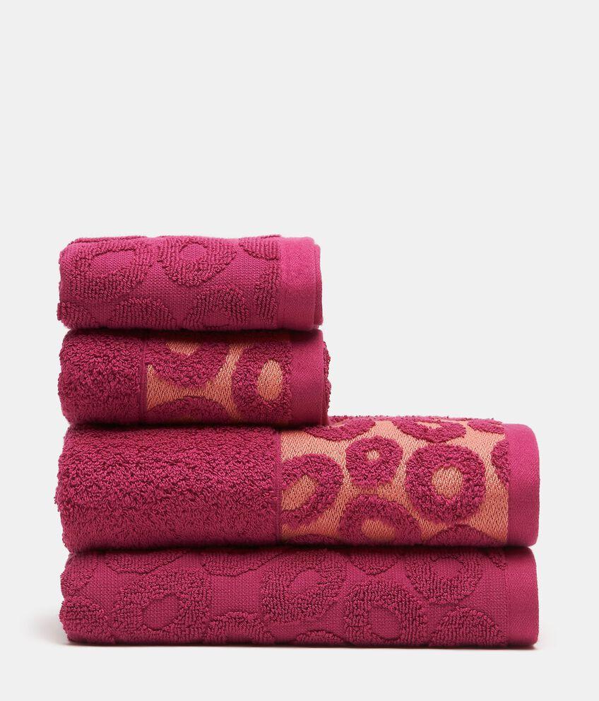 Set con 4 asciugamani con decoro cerchi in puro cotone double 1