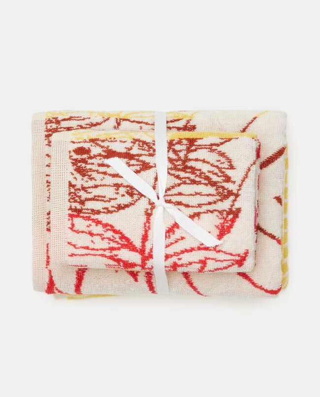 Set asciugamani con decoro ospite in puro cotone