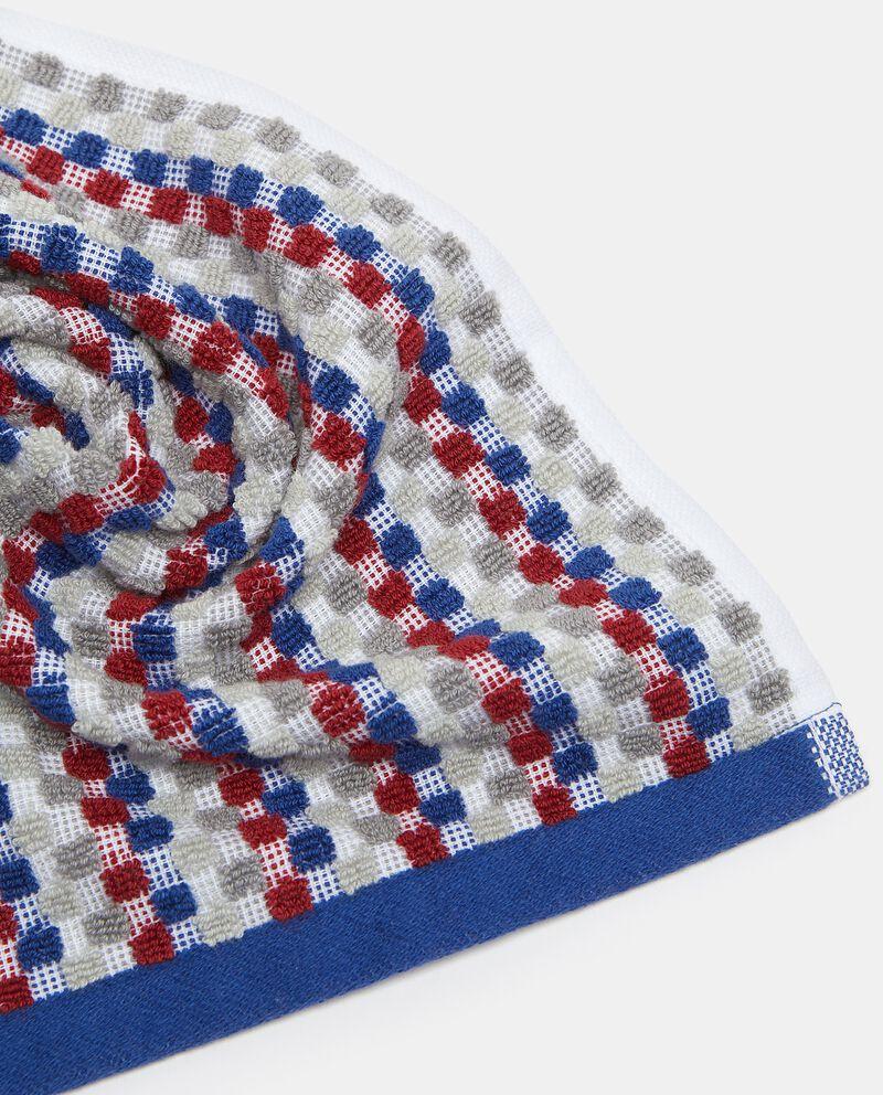 Asciugamano ospite con micro quadretti in puro cotone single tile 1