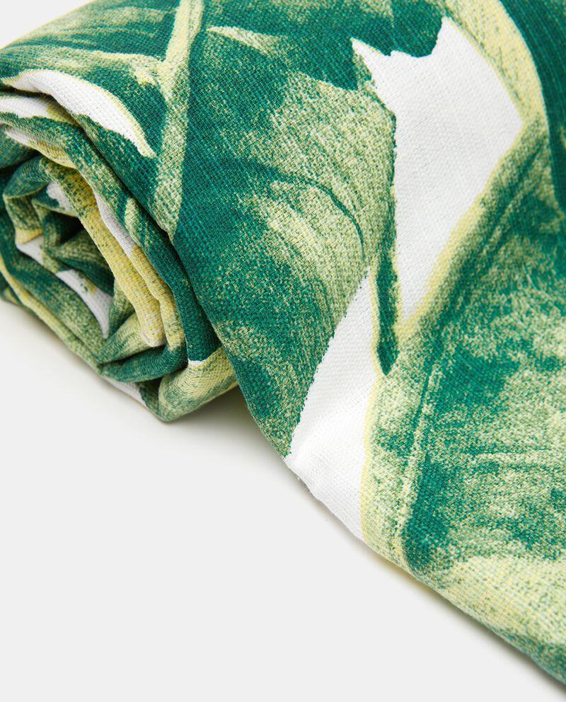 Telo in puro cotone con stampa foglie