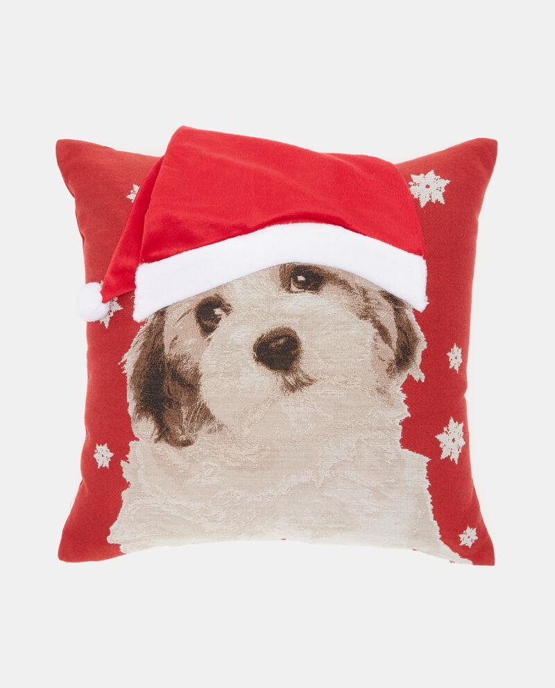 Cuscino con cane e cappello natalizio