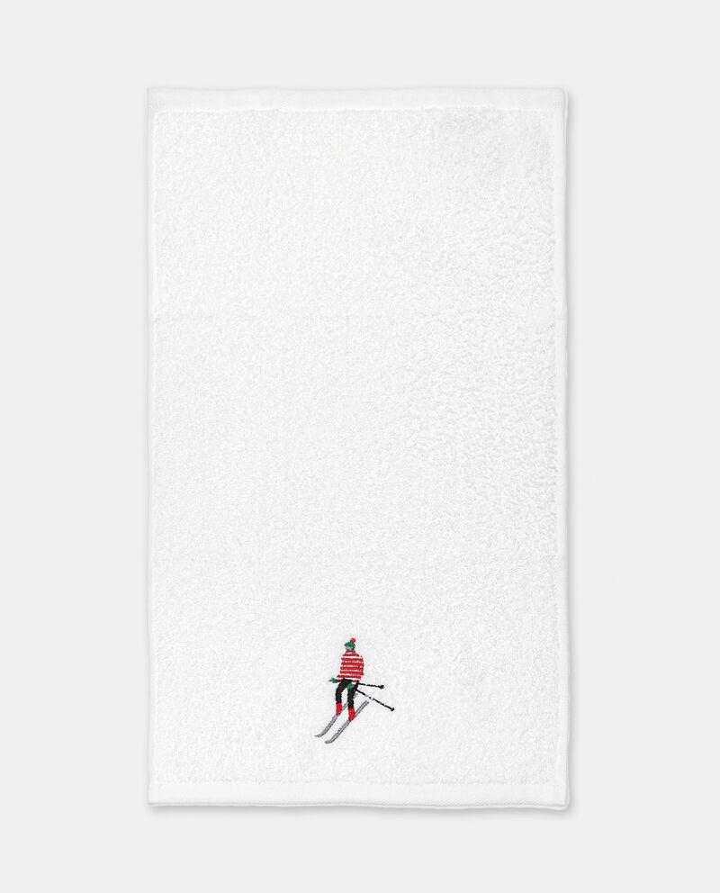 Set asciugamani ospite in puro cotone con ricamo sciatore